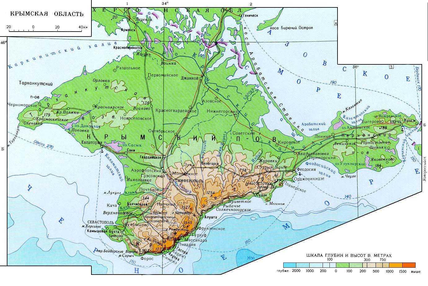 Карта Крыма - подробная схема и со спутника: с улицами и 74